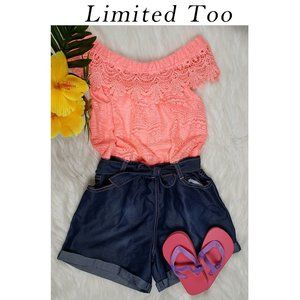 Limited Too Lace & Denim Romper Size 10